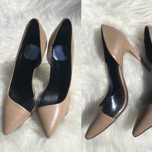Leather Pointed Nude & Clear Heels